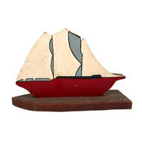 Red Boat with White Sails, Painted Wooden Cutout on Base