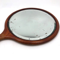 Antique Wood Framed Bevelled Glass Mirror with Loop Handle