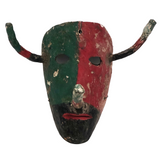 Early 20th Century Mexican Dance Mask with Long Nose and Horns