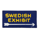 "Hand-painted :""Swedish Exhibit"" Cardboard Sign"