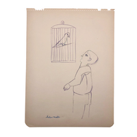 Helen Malta Boy with Caged Bird Color Pencil Drawing, 1930s-hold for KS