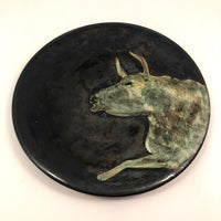 Metallic Black Pottery Plate with Painterly Bull, attributed to Marc Hansen