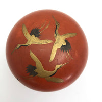 Japanese Orange Lacquer Nesting Box with Gold Cranes