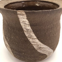 Earthy Brown with White Stripes Hand-thrown Pottery Planter
