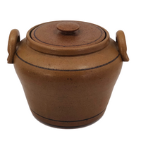 Hand-thrown Mustardy Brown Stoneware Cooking and Serving Pot