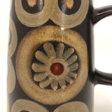 Mid-Century Dark Brown Ceramic Pitcher with Hand-Painted Circles and Suns