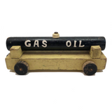 Black and Yellow Painted Old Handmade Toy Gas and Oil Truck