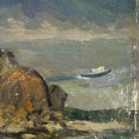 Chaloi Leonty Small Oil on Cardboard Seascape with Rock Formation, 1965