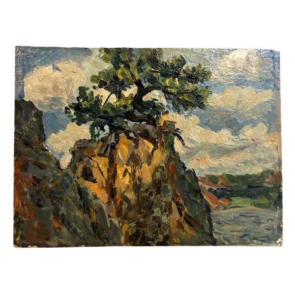 Chaloi Leonty Small Oil on Cardboard Landscape with Tree in Rock, 1965