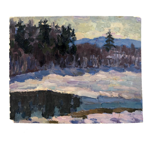 Chaloi Leonty Oil on Paper Winter Landscape Painting, 1970