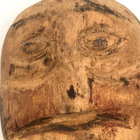 Expressionistically Carved Man with Mustache Bust