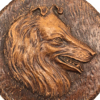 Syroco Ornawood Vintage Collie and Shepherd Dog Portrait Wall Plaques - A Pair