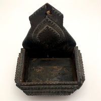 Black Painted Antique Tramp Art Wall Box