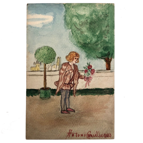 Antoni with Roses, Watercolor Postcard, 1928