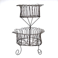 19th Century American Two-Tiered Wirework Basket on Scrolled Feet