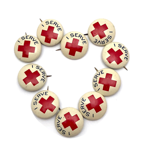 "American Junior Red Cross ""I Serve"" Pinback Buttons, Sold Individually"
