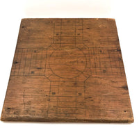 Primitive Old Pencil-drawn Wooden Parcheesi Game Board with Great Reverse