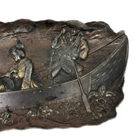 Finely Detailed Antique Japanese Mixed Metal Tray - Tea while Fishing