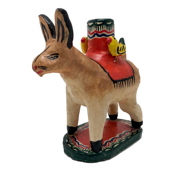 Mexican Folk Art Hare with Birds Candleholder