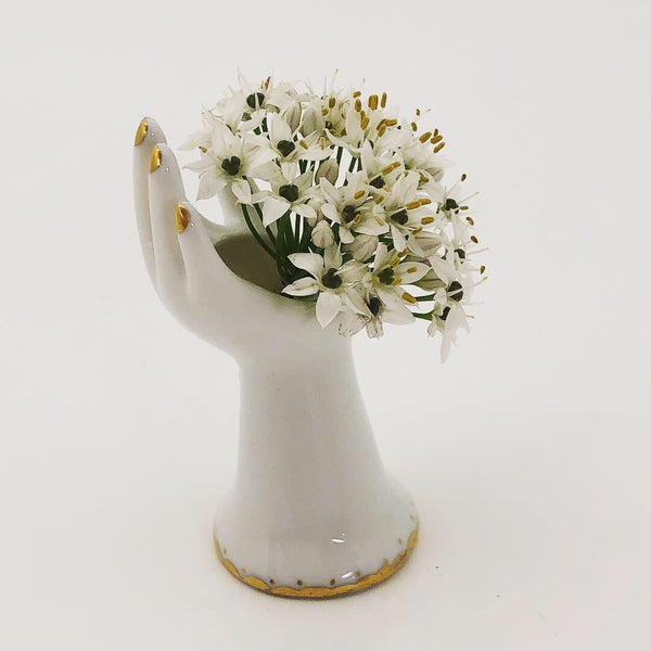Tiny Porcelain Hand-shaped Vase with Gold Details