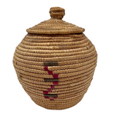 Yup'ik Northwest Coast Native American Lidded Coiled Grass Basket