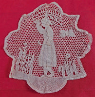 Wonderful Antique Handmade Bobbin Lace Woman with Scythe