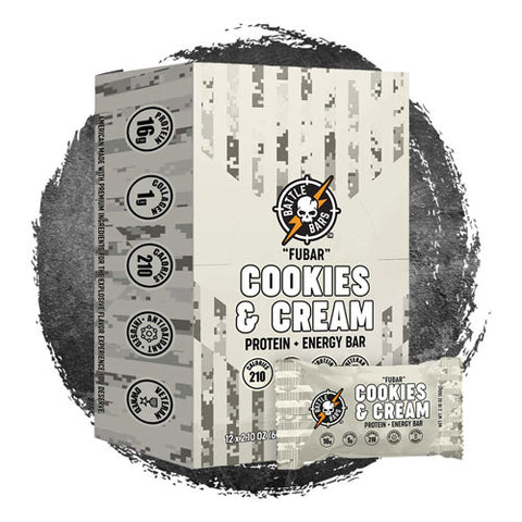 Battle Bars FUBAR Cookies & Cream Protein Bar (12 Bars)