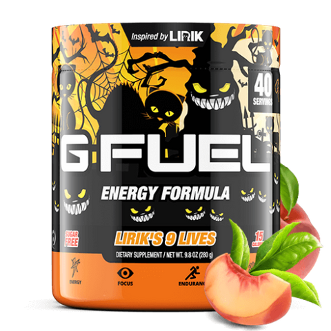 G Fuel Peach Iced Tea Reskin Lirik's 9 Lives (40 Servings)