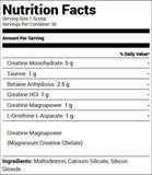 Redcon1 Tango Creatine Recovery Solution Unflavored (30 Servings) Nutrition Facts