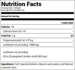 USN CLA Pure 1000 (90 Softgels) Nutrition Facts