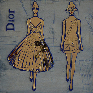 Dior Blue and Gold 18x18