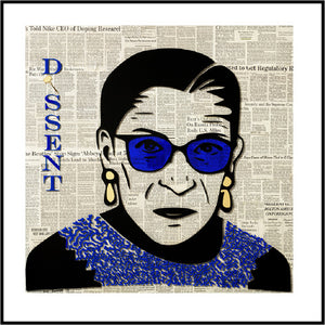 RBG Blue Dissent Signed and Numbered Print