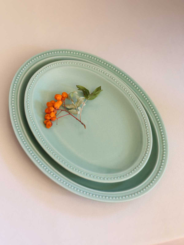 Yamaki Dotted Oval Plate (Mint Green)