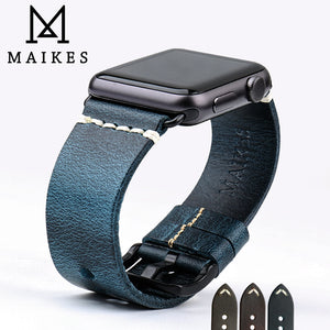 MAIKES Watch Bracelet Oil Wax Leather Watch band For Apple Watch 44mm 40mm / 42mm 38mm Series 4/3/2/1 iWatch Watch Strap