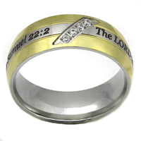 Gold and Silver Scripture Ring with crystals - 2 Samuel 22:2