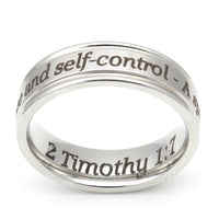 No Fear Silver Scripture Ring