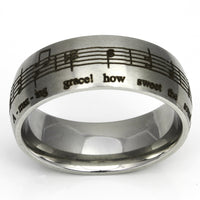 Amazing Grace Music Silver Matte Ring