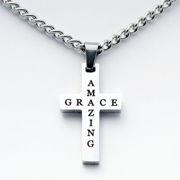 Amazing Grace Silver Cross Pendant