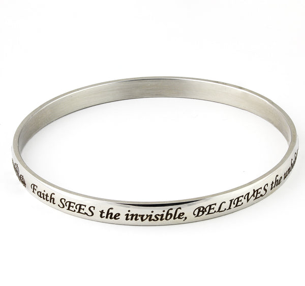 Faith sees the invisible, Believes the unbelievable and receives the impossible bangle bracelet