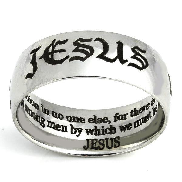 Jesus in English, Hebrew and Greek - Shiny Silver Ring