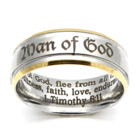 Man of God Silver Ring with Gold Edging