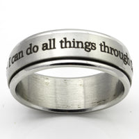 Philippians 4:13 - Silver Spinner Ring