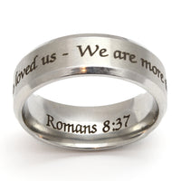 More than Conquerors Silver Beveled Ring