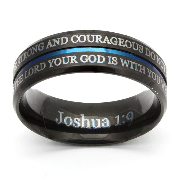 Black Stainless Blue Line Ring - Joshua 1-9