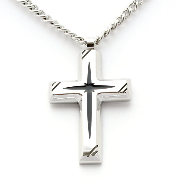 Black Star Cross on Silver Pendants