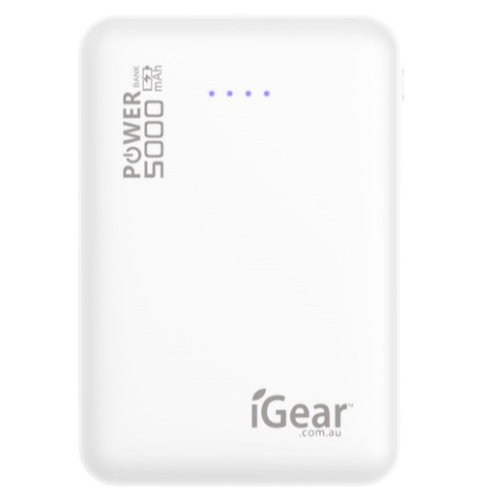 Power Bank 5000mAH Dual USB - White