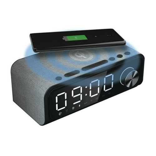 Laser 4 in 1 Digital Alarm Clock Radio with QI wireless charging