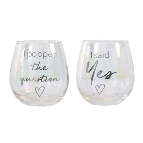 Engagement Popped The Question Glass Set