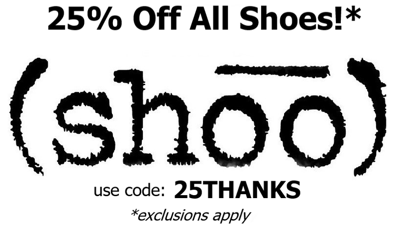 shoo shoes 25% off shoostore.com