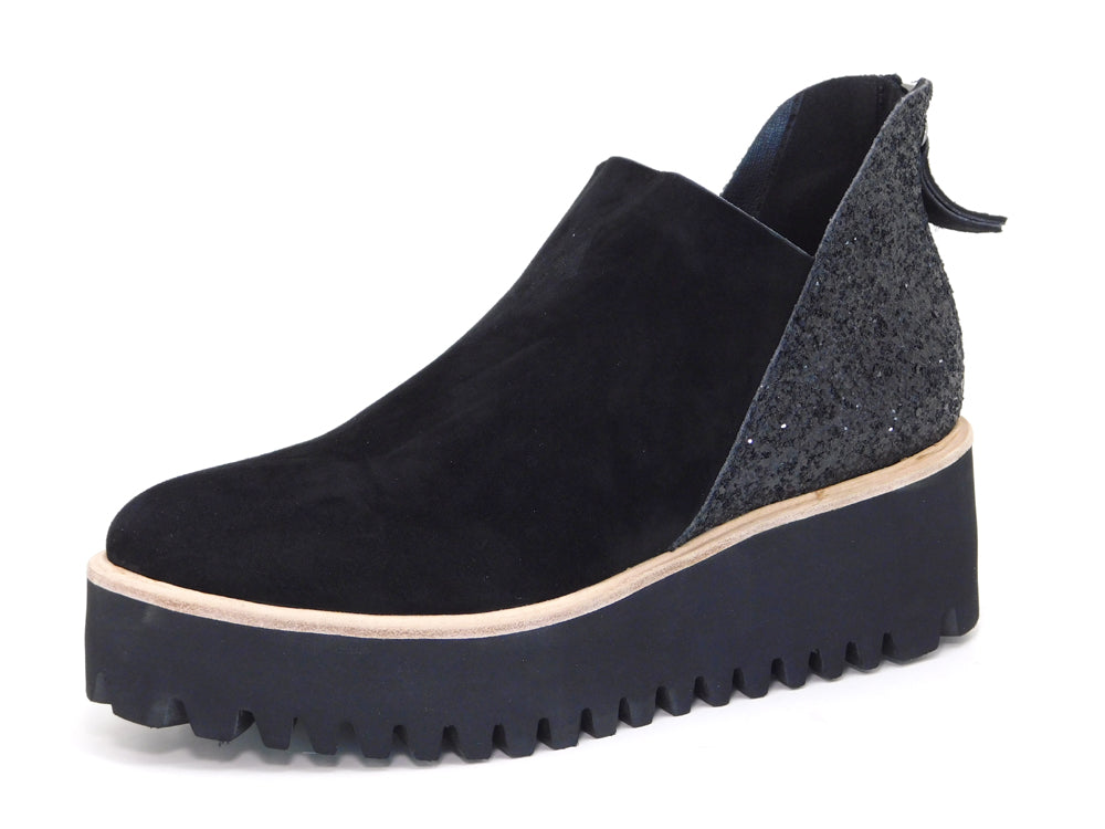 All Black Flatform Tread Shootie Glitter - shoostore